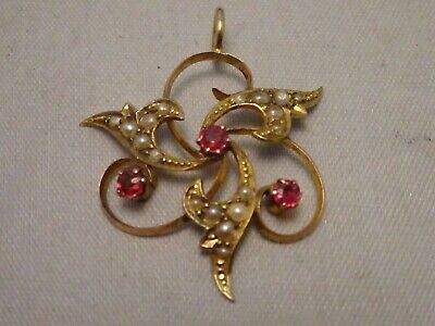 Antique Edwardian 9ct Gold & Sterling Silver Seed Pearls & Rubellite Pendant.
