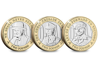 2019 Rare D-Day £2 Two Pound Coin Set Three Iconic Leaders In Folder BUNC