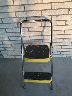 Super Vintage Cosco Folding Two Step Stool Ladder Yellow Metal Andrewgaddart Wooden Chair Designs For Living Room Andrewgaddartcom