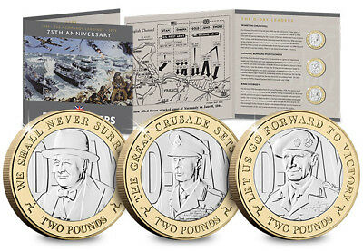2019 D-Day £2 Two Pound Coin - Set three iconic leaders Ltd Edition 9995 BUNC