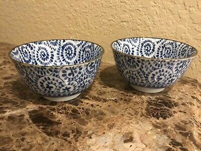 TWO - Japanese Wide Mouth Small Rice - Soup Bowl Blue & White Abstract Flowers