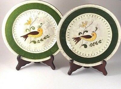 """Stangl Pottery """"SINGLE BIRD"""" PLATES 1942 Lunning 9"""" Incised Rare ~20% OFF SALE"""