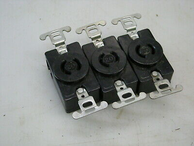 Lot of 3 ea. Pass & Seymour 7210 20A 250V Twist Turnlok Locking Receptacle Singl