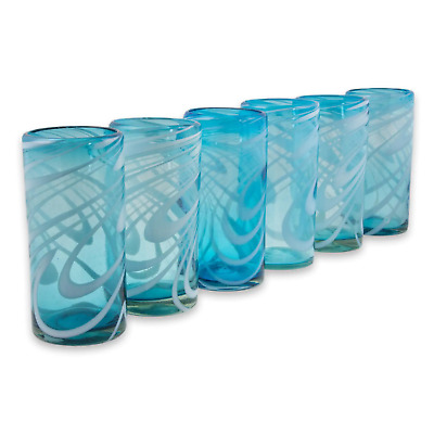 Hand blown Highball Glasses Set of 6 Recycled Glass Cobalt Aqua Pinched Tumble