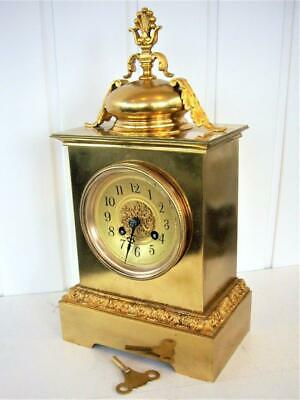 Antique French Bell Strike Gilt Mantel Clock - Restored.