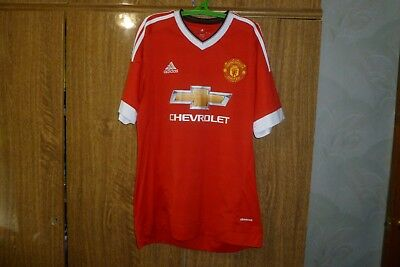 666fbed9a Manchester United MU Adidas Football Shirt Home 2015 2016 Soccer Jersey  Size L