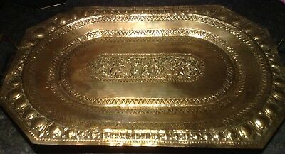 Antique Chinese Repousse Dog Gods Brass Serving Tray With Handles