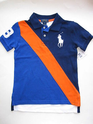 NWT Ralph Lauren Boys Big Pony Banner Striped Polo Size 2