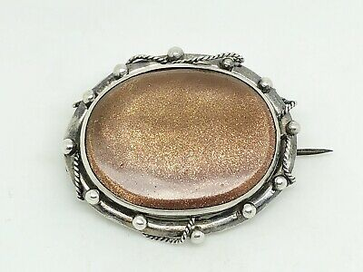 Gorgeous Antique Victorian Sterling Silver Goldstone Ropework Ornate Brooch