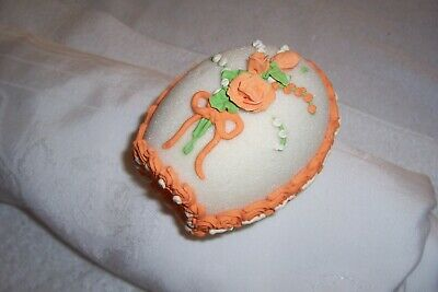 Vintage diorama sugar Easter egg orange and green icing church and trees