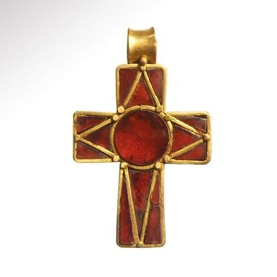 ANCIENT MEDIEVAL GOLD AND GARNET CLOISONNE CROSS; 7TH - 9TH CENTURY A.D.   14.2g