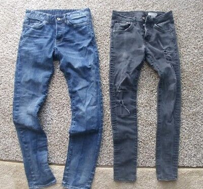 YOUNG MENS/BOYS SKINNY JEANS - H&M 28 WAIST BUTTON FLY 32 inseam - 2 pairs