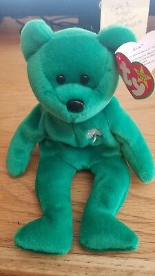 TY BEANIE BABY ERIN THE BEAR 1997 ORIGINAL RARE w/tag errors With trading card