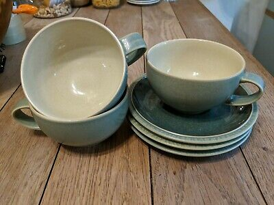 Set of three Denby Calm Light Green Breakfast Cups And Saucers