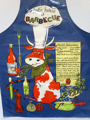 Vintage BARBECUE Sauce PVC Coated ADULT Vinyl APRON Waterproof Kitchen Party