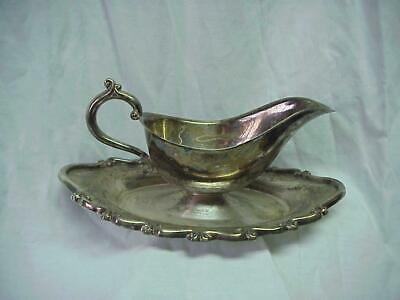 Vintage Gravy Boat with Under Plate Silverplated F.B. Rogers U.S.A.