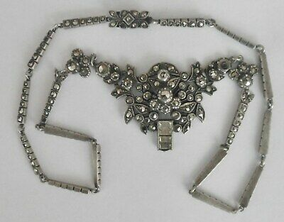 Good Art Deco Sterling Silver And Marcasite Necklace With Elaborate Drop