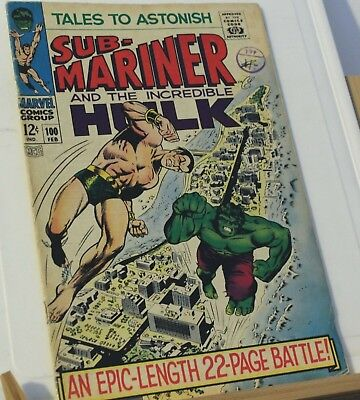 sub-mariner and the incredible hulk #100 1968 marvel comic silver age