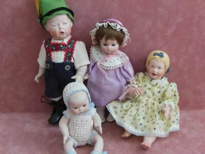 Antique German Reproduction 4 Dolls Nicely Done Brouse