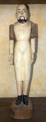 "13"" ANTIQUE MANNEQUIN DOLL CARVED ARTICULATED WOOD  Santos  Figure Saint"