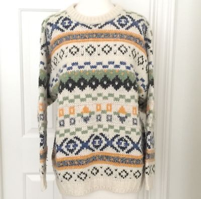 Vintage 80s Sweater M Nordic Fair Isle Grunge Crew Wool Blend Made in Italy