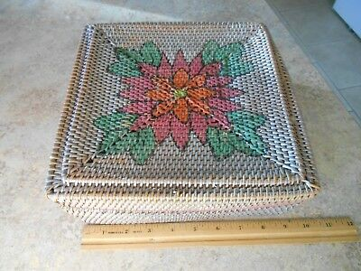 Antique-Victorian  Flower  Pattern Woven Box  With Lid