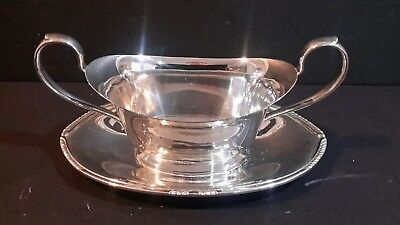 Antique Wm. Rogers 5413 YORK Silverplate Handled Gravy Bowl with Attached Plate