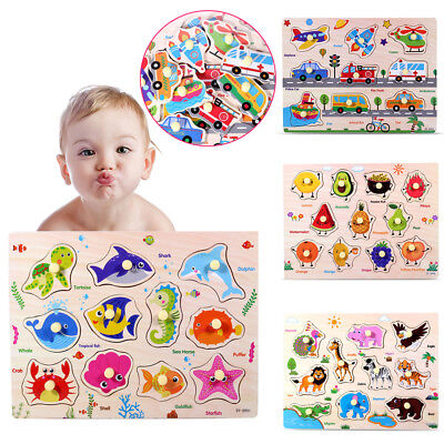 Kid/Toddler Peg Jigsaw Letter Puzzle Animal Baby Developmental Wooden Game Toy