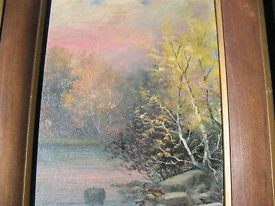 Very Pretty Signed Landscape Oil Painting On Board Arts & Craft Deco frame