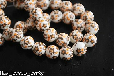 10pcs10mm Round Porcelain Ceramic Loose Spacer Beads Jewelry Findings Brownness