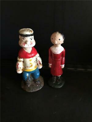 Vintage Cast Iron Figures Still Bank Popeye and Olive Oyl paper weight/Toy's
