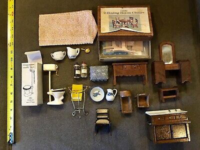 Vintage Dollhouse Miniature Furniture Lot of 19 Assorted Pieces Wood & Metal