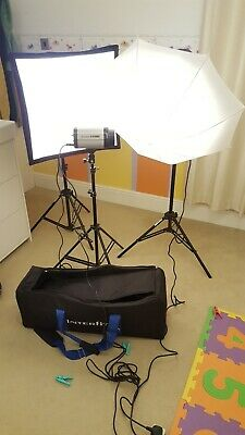 Interfit EXD 200 Flash heads, stands, bag and accessories.