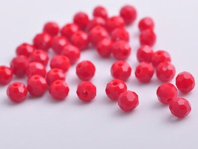 200pcs 4mm Round Faceted Crystal Glass Charms Loose Spacer Beads Jade Red