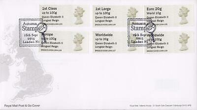 GB 2015 (16th Sept) Elizabeth II Stampex Post & Go Stamps on RM Cover