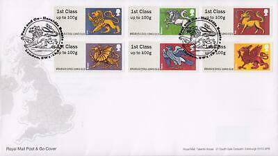GB 2015 (13th May) Heraldic Beasts SW1 Post & Go Stamps on RM Cover