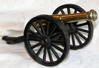 vintage BRASS AND CAST IRON napoleonic CANNON.