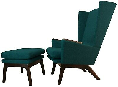 New Contemporary Danish Modern Wingback Club Lounge Accent Armchair & Ottoman