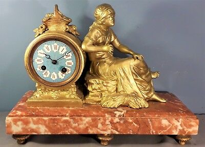 Antique French Gilded Spelter and Marble Striking Mantel Clock