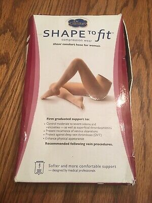 Dr. Comfort Shape To Fit Black Sheer Pantyhose Control W L 20-30 Mmhg Black