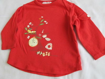Boy Girl 12M Red top embroider decoration Despetits Very good to excellent condi