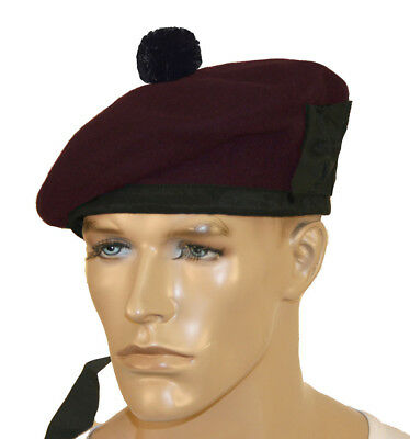 Pure Wool Balmoral Hat Scottish Beret Glengarry Bonnet Pipe Band Maroon Pom Pom