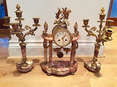 Beautiful rare 19th C. French red marble Portico clock & Ganiture