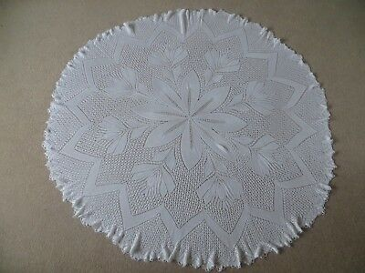 Vintage Large Round Circular Hand Knitted Shawl  - Tablecloth - Baby Christening