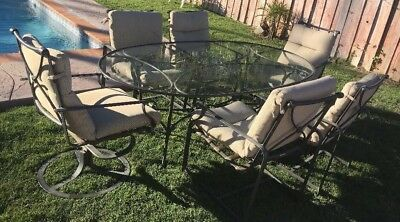 Brown Jordan  Patio Set 4 Chairs ,2 Swivel Chairs And Table With Glass