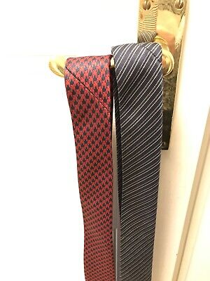 Two Mens Smart Neck Tie Ties Patterned Red Blue
