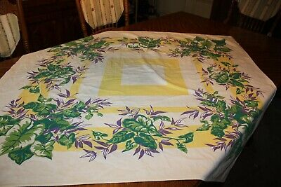 Vintage Philodendron Purple Leaves Yellow Stripes Tropical Tablecloth 51 x 47