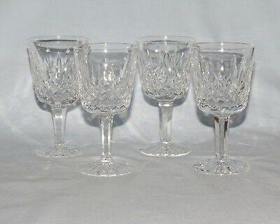 set of 4 Waterford Crystal Ireland Lismore pattern glasses possibly Port