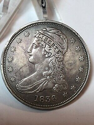 1836 Reeded Edge Capped Bust Half Dollar 50C Coin Only 1200 Minted - Key Date!