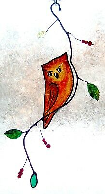 Handcrafted Stained Glass, Stained  Glass Suncatcher Owl, gift